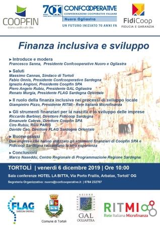 'Finanza inclusiva e sviluppo', un seminario a Tortolì